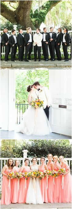 Southern wedding fashion, South Carolina wedding party, black-tie groomsmen attire, coral bridesmaid dresses, pin to your own inspiration board // Magnolia Photography Southern Weddings, Real Weddings, Coral Bridesmaid Dresses, Wedding Dresses, South Carolina, Wedding Styles, Wedding Photos, Groomsmen Ties, Wedding Vendors