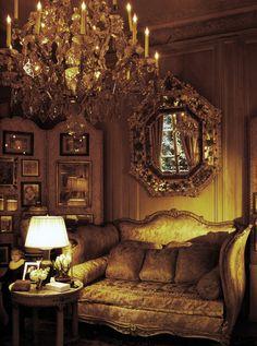 ♔ Coco Chanel's Paris Apartment in The Ritz. Louis XV style sofa, venetian mirror, french cristal chandelier