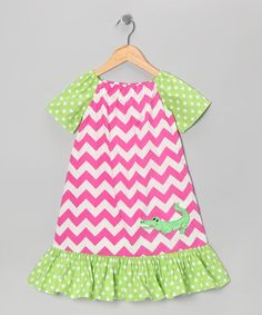 Take a look at this Pink Chevron Alligator Dress - Infant, Toddler & Girls by Marjorie's Daughter on #zulily today!