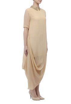 6e34062d0b431a Beige collar-embellished dress Embellished Dress, Pink Fashion, Hijab  Fashion, Fashion Dresses