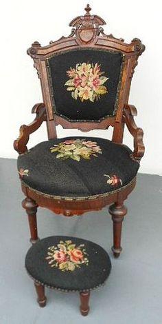 Antique Victorian Renaissance Revival Parlor Chair Orig  c.1870's