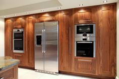 Designer and maker of luxury handmade furniture including kitchens, bedrooms, dressing rooms and home offices. Kitchen Layout Interior, Kitchen Design, Kitchen Ideas, Walnut Kitchen, Bespoke Kitchens, Handmade Furniture, French Door Refrigerator, Natural Wood, Home Office