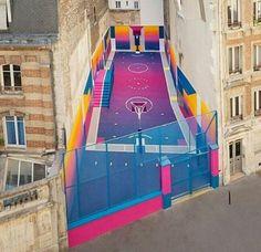 Street Art on a Basketball Court in Paris