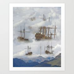Cloudships Shower Curtain by crismanart Laptop Design, Work Inspiration, Framed Art Prints, Wall Tapestry, Places To Go, Curtains, Artwork, Friends, Painting
