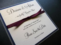 Classic mounted Save the Date with navy, silver and burgundy colour scheme
