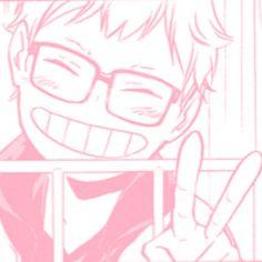 Tsukishima Kei, Haikyuu Manga, Manga Anime, Pink Wallpaper Anime, Baby Pink Aesthetic, Cute Icons, Color Rosa, Photo Wall Collage, Aesthetic Anime