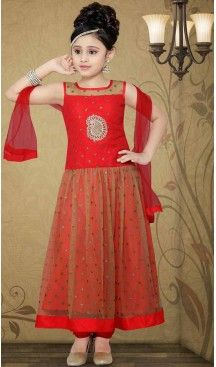 Girl's Red Art Silk in Without Work Incredible Readymade Salwar Kameez