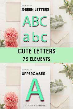 Cute Letters, 3d Letters, Alphabet Design, School Design, Graphic Illustration, Design Bundles, Design Elements, Free Design, Shadows