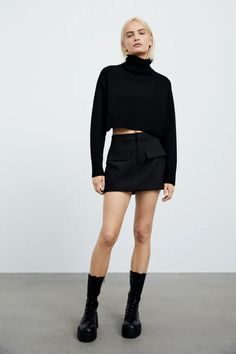 Lo más nuevo para mujer | ZARA Honduras All Black Everything, Skort, Leather Skirt, Zara, Style, Fashion, Pockets, Pants, Zippers