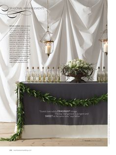 Love the garland, the urn with it's low arrangement actually the atmosphere of the whole setup!!