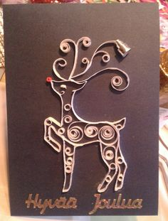 Reindeer by quilling Quilling Cards, Reindeer, Christmas Cards, Embroidery, Crafts, Diy, Jewelry, Paper Engineering, Cards