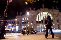 Traveler outside Gare du Nord, train station Paris North.
