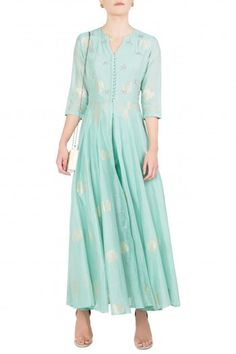 Koashee By Shubhitaa Featuring a pastel green front open kurta in chanderi  base with zardozi and 20325001e