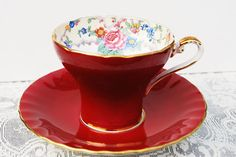 Aynsley Tea Cup and Saucer, Red Corset Shape