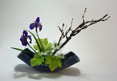 Moribana with iris nigella heuchera and euonymous 1024x713 365 Days of Ikebana Day 294