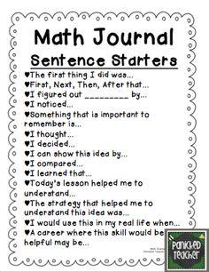 Math Journal Sentence Starters from Panicked Teacher's Blog @ panickedteacher.blogspot.com