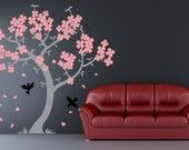 Cherry blossom tree decal. Removable vinyl wall decal. Pink blossoms and birds
