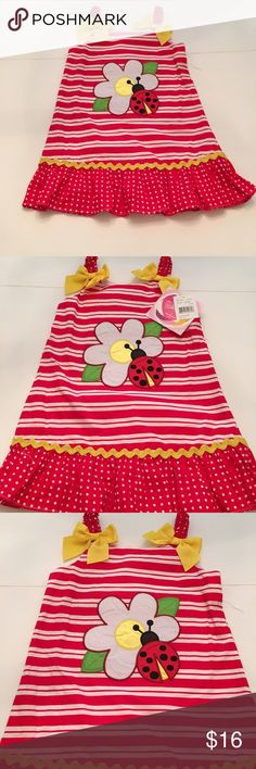 Youngland girls dress Super cute Youngland girls dress. This dress is so cute with lady bug and flower. Sadly the dress was never worn still has the tags. It is 100 percent cotton. I am willing to accept offers. Youngland Dresses Casual