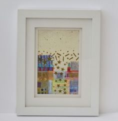 "Mixed+media+collage+""Stars+&+Stripes""+by+Maureen+Mitchell.+Supplied+in+a+white+frame.+Measures+8x23cms.+UK+buyers,+postage+FREE.++Worldwide+shipping+please+enquire+for+rates.++"