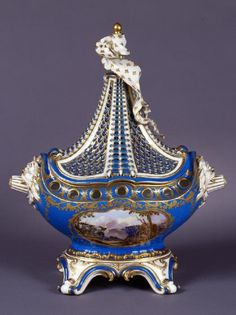 This vase in the shape of a masted ship is arguably the most famous model made by the Sèvres manufactory, and was copied by several English and Continental factories. Description from pinterest.com. I searched for this on bing.com/images