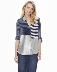2c6c0d88f8 Express original fit navy blue and white mixed stripe portofino shirt top  blouse