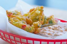 Crispy Corn Fritters with Chipotle Cream Cheese Dipping Sauce by Food Blogga, via Flickr