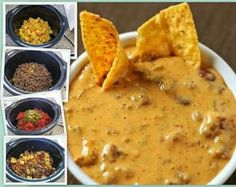 Ingredients: (And. ground beef, browned and drained) Cut the queso into cubes. Throw it into the crockpot. Crock Pot Recipes, Crock Pot Dips, Slow Cooker Recipes, Cooking Recipes, Crock Pot Cheese Dip, Nacho Dip, Hamburger Dip, Hamburger Crockpot Meals, Hamburger Ideas