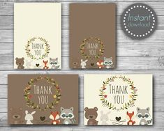 Woodland Thank you cards printable, Woodland thank you tags printable, Woodland Baby shower thank you cards, Birthday thank you cards Thank You Tag Printable, Personalized Thank You Cards, Thank You Tags, Printable Cards, 1st Birthday Party Invitations, Birthday Thank You Cards, Baby Shower Thank You Cards, Woodland Theme, Woodland Baby