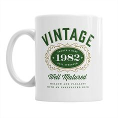 35th Birthday, 35th Birthday Gift, 35th Birthday Gifts For Men, 35th birthday Gifts For Women, 1982 Birthday, Vintage Bourbon 1982, Coffee Mug. 35th Birthday Coffee Mug, makes the perfect 35th birthday gift. Mainly Mugs is proud to offer our original and exclusive, vintage, 35th Birthday design on our quality 11oz, white ceramic mug.