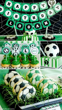 Soccer Birthday Party Supplies Green Black White, Soccer Themed Birthday Party Ideas Supplies, Decorations and Invitations. Treats perfect for any indoor birthday celebration or any soccer fun - kids will love!
