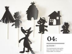 DIY: a theater of shadows {the 3 little pigs} . Books Art, Shadow Theatre, Puppets For Kids, Puppet Crafts, Diy Ombre, Three Little Pigs, Shadow Puppets, Fun Activities For Kids, Mail Art