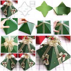 DIY- Christmas GIft Box in form of pyramid - http://www.amazinginteriordesign.com/diy-christmas-gift-box-form-pyramid/