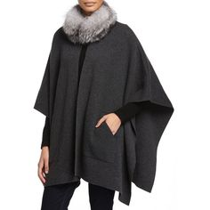 Sofia Cashmere Cashmere Fur-Trim Poncho w/ Pockets ($900) ❤ liked on Polyvore featuring outerwear, charcoal, cape coat, sofia cashmere, poncho cape coat, poncho cape and open front poncho