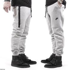 Nike Tech Fleece Jogger Pants Heather Grey Black 545343 065 Sale | eBay