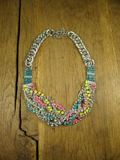 Stunning Braided Neon Crystal, Rainbow Thread Wrapped Bib Necklace