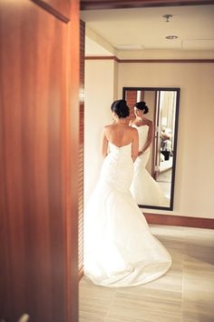 Real bride Erika in her Nouvelle Amsale gown