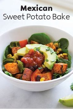 Fall is the perfect time to enjoy the unique flavors of sweet potatoes, and this Mexican Sweet Potato Bake is a must-try dinner recipe. Nutritious sweet potatoes, peppers, black beans, and corn are tossed  with Mexican seasonings and baked together to create a vibrant meal that's full of flavor. Save this one-pan, vegan, and gluten-free recipe for your next family dinner.