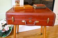The Polka Dot Closet: Suitcase Table --tutorial. Option for suitcase. http://thepolkadotcloset.blogspot.com/2012/05/suitcase-table.html