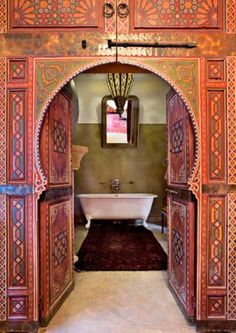 48 Wonderful Moroccan Bathroom Design Ideas : 48 Wonderful Moroccan Bathroom Design With Calm Etnic Pattern Wall And Door And White Bathtub . Moroccan Bathroom, Boho Bathroom, Bathroom Doors, Bathroom Styling, Bathrooms, Bathroom Modern, Moroccan Design, Moroccan Decor, Moroccan Style