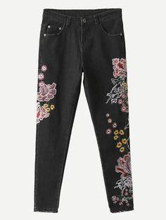 #xmas #Christmas #ROMWE - #ROMWE Flower Embroidered Skinny Jeans - AdoreWe.com