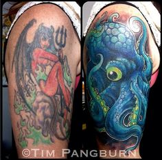 With shows like Tattoo Nightmares and America's Worst Tattoos the growing trend of tattooists specializing in cover ups is becoming more frequent then ever. Tattoo by Tim Pangburn Octopus Tattoo Design, Octopus Tattoos, Animal Tattoos, Tattoo Designs, Tattoo Ideas, Bad Tattoos, Cover Up Tattoos, Cool Tattoos, Worst Tattoos