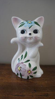 Dévidoir à ficelle chat en céramique.