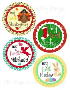 Monthly Milestone stickers- Baby's First Holidays Sticker Set-  Baby bodysuit monthly stickers neutral seasonal holiday stickers- NEU100 on Etsy, $6.50