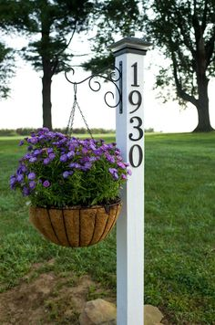 Lovely Violet Posies on a House Number Post