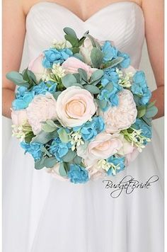 Blush roses with blue hydrangea bouquet - spring wedding Spring Wedding Bouquets, Spring Wedding Flowers, Bride Bouquets, Bridal Flowers, Flower Bouquet Wedding, Brooch Bouquets, Blue Hydrangea Bouquet, Davids Bridal Gowns, Budget Bride