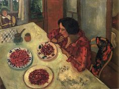 Strawberries. Bella and Ida at the Table by Marc Chagall, 1915.