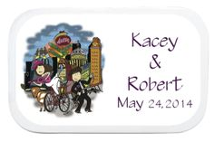 Planning an #AustinWedding? These candy tins filled with your choice of goodies are unique and lasting. After the candy is gone, these cute tins are great for saving buttons, pins, flash drives, coins and more. We custom color the bride and groom's hair and skin color. At $3.95 each, this will enhance any welcome gift bag or candy buffet. www.favorsyoukeep.com or call 512.323.0600 #weddingmints #uniquepartyfavors #candybarbuffet