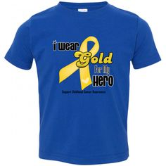 I Wear a Gold Ribbon For My Hero Childhood Cancer Toddler T-Shirt featuring a gold awareness ribbon with a small heart to show your support for Childhood Cancer Awareness and those battling it  #childhoodcancer #childhoodcancerawareness #iweargold
