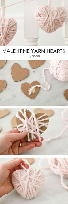 Valentine Yarn Hearts - a perfect craft for the whole family! Valentine Yarn Hearts – a perfect craft for the whole family! Valentine Yarn Hearts – a perfect craft for the whole family! Valentines Bricolage, Valentine Day Crafts, Holiday Crafts, Christmas Crafts, Kids Valentines, Valentine Ideas, Christmas Nails, Valentine Heart, Christmas Ideas
