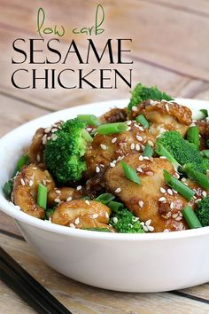 Chinese take-out made from scratch! Check out our easy healthy dinner recipe idea for Sesame Chicken! Low carb, keto & gluten free!
